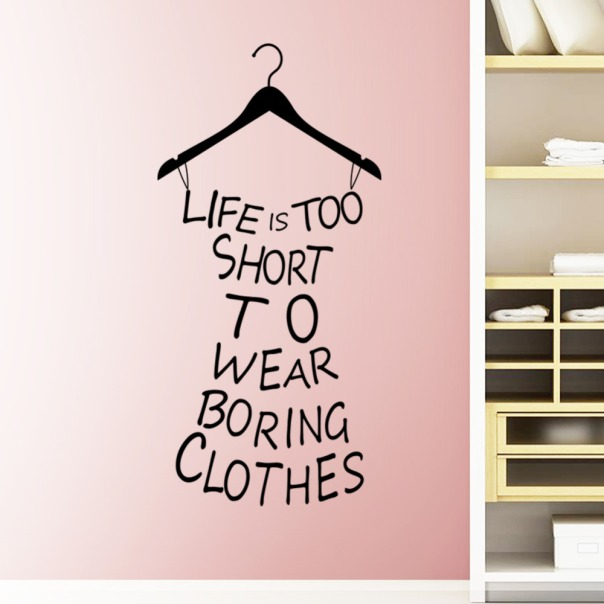 Vinyl-Sticker-Decals-Art-Home-Decor-Mural-Dress-Quote-Life-is-Too-Short-Clothes-Lettering-Girls copy