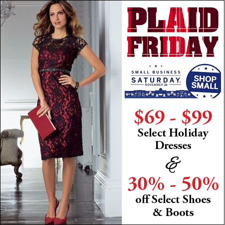 plaid friday, small business saturday, dress sale, shoe sale