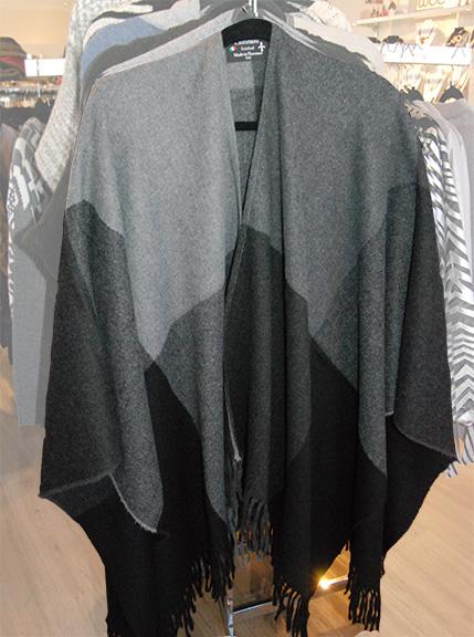 poncho, cashmere, gray, fringe